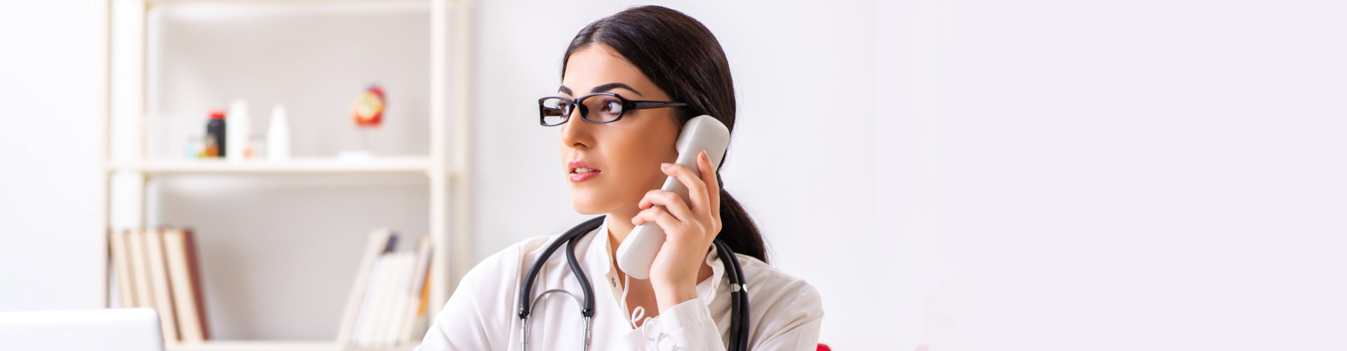 nurse answering her phone