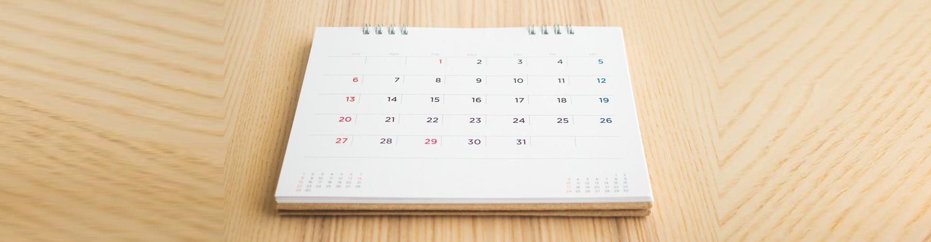 calendar on top of a table