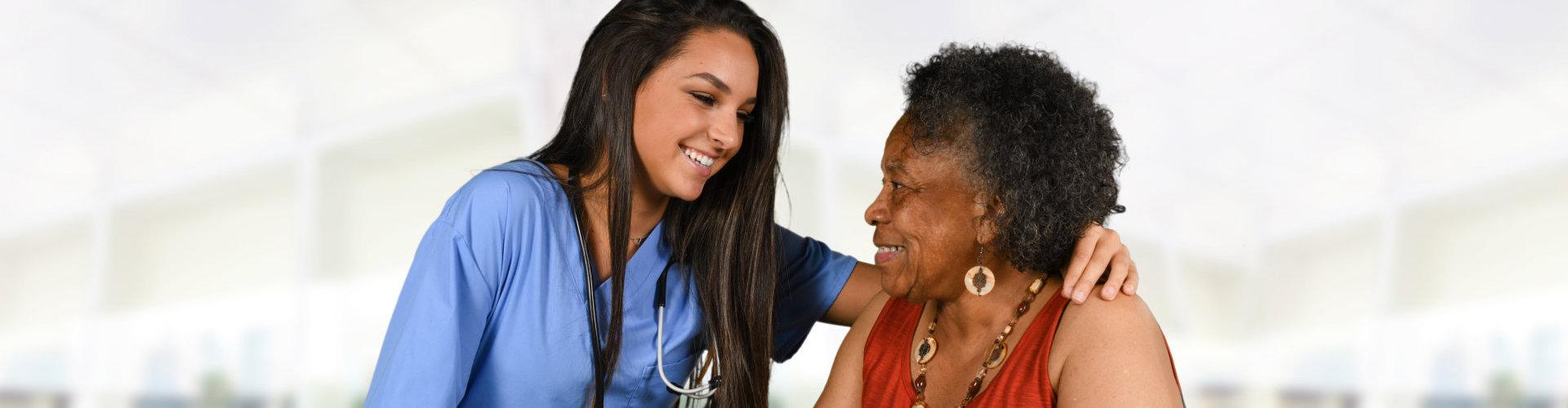 nurse checking her patient